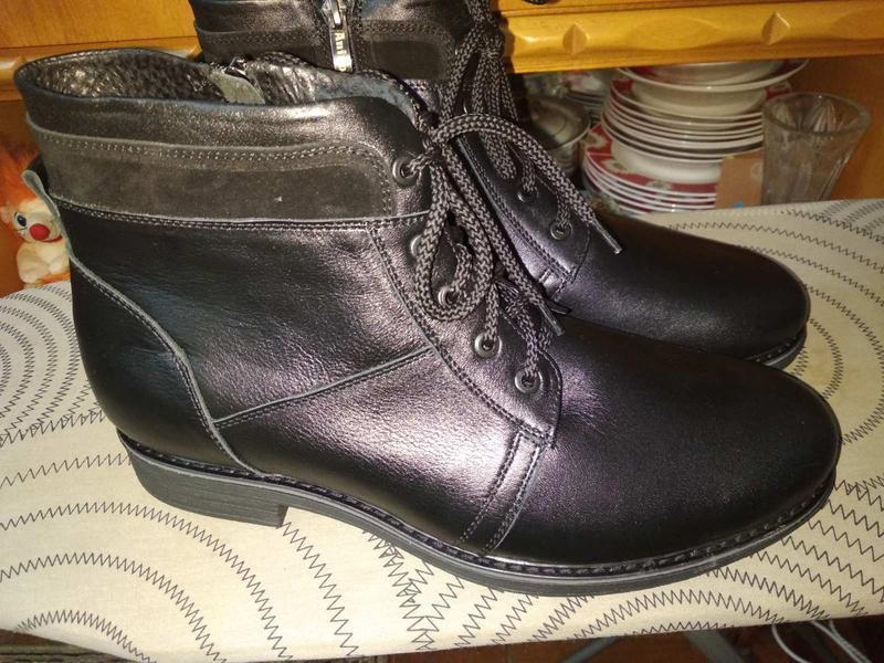 Классические кожаные мужские ботинки на зиму - Фото 2