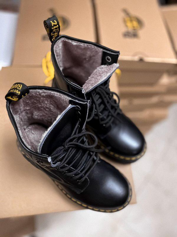 Женские зимние кожаные ботинки/ сапоги dr. martens jadon black...