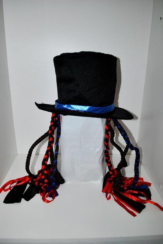 Шапка с косичками клоун фокусник волшебник  черная карнавальная