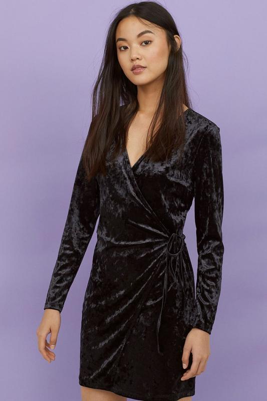 Бархатное h&m платье на запах s-m