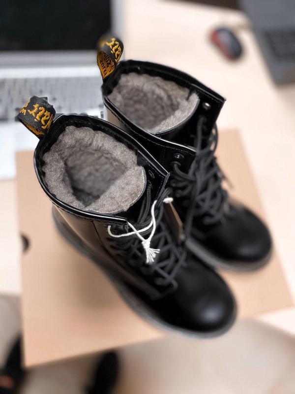 Женские зимние кожаные ботинки/ сапоги dr. martens black fur 😍...