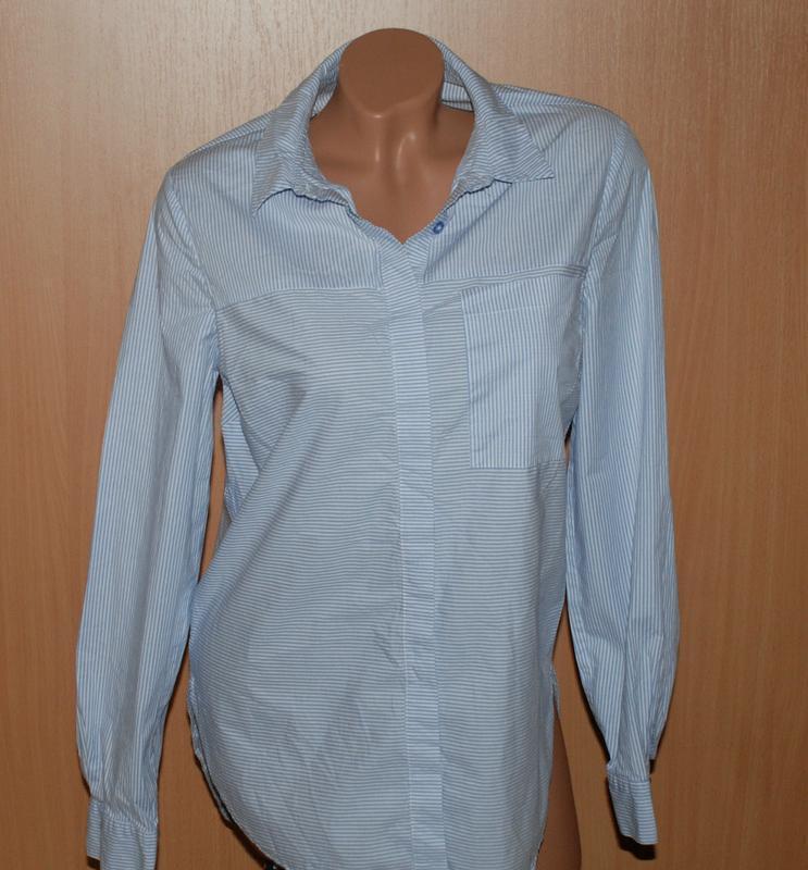 Рубашка удлиненная бренда f&f /98%хлопок / на потайных пугов...