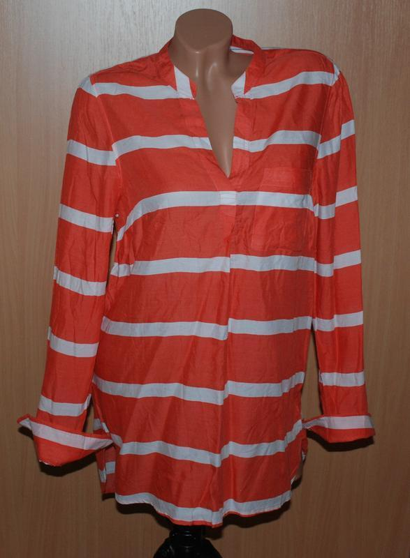 Блуза бренда f&f /широкая полоска/ бело-морковный цвет/