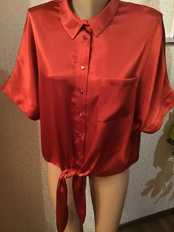 Шикарная блуза терракотового цвета с переливом ткани