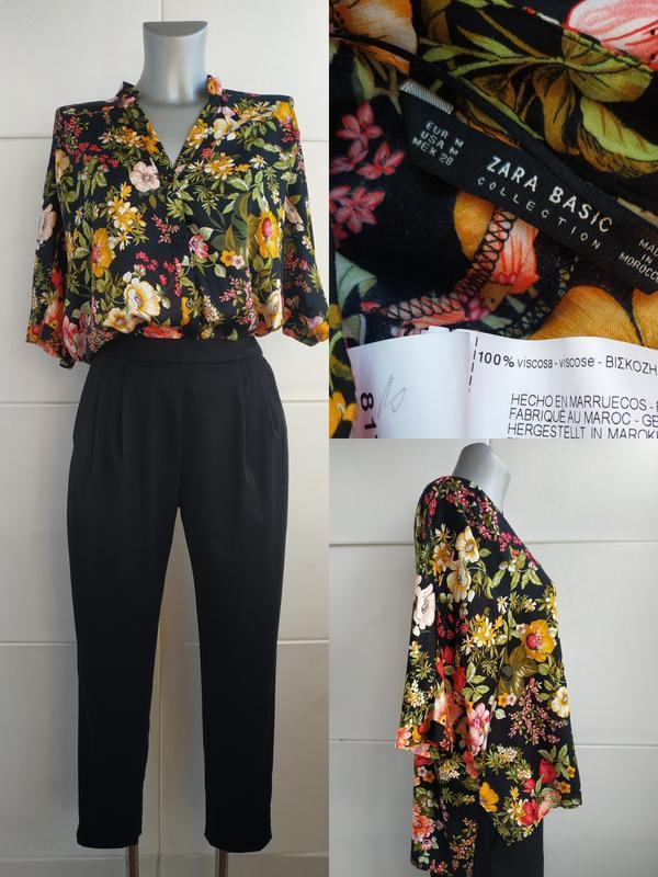 Стильная блуза zara с принтом красивых цветов