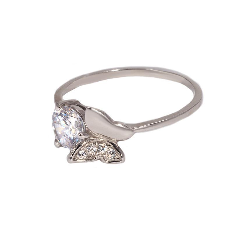 Кольцо из серебра 925 пробы с покрытием из родия бабочка с фиа...