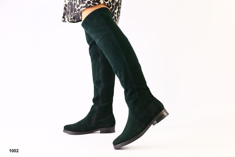 Шикарные замшевые ботфорты изумрудного цвета зима