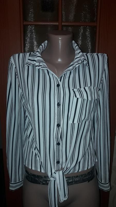 Рубашка в полоску, блуза короткая с завязками