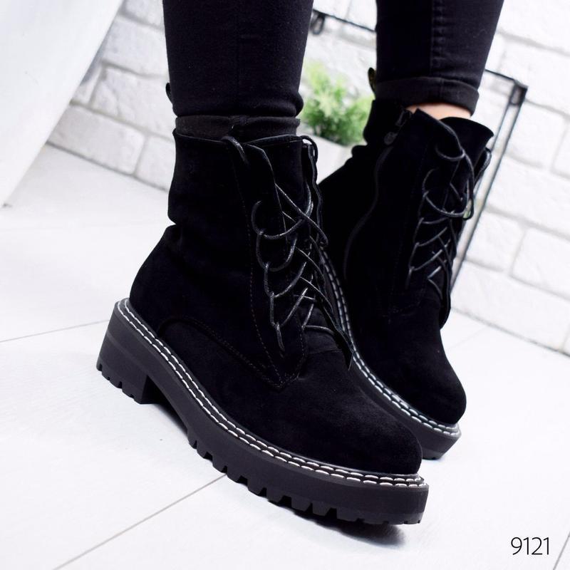 Стильные замшевые зимние ботинки