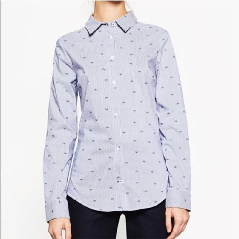 Стильная рубашка в полоску в принт с велосипедами zara