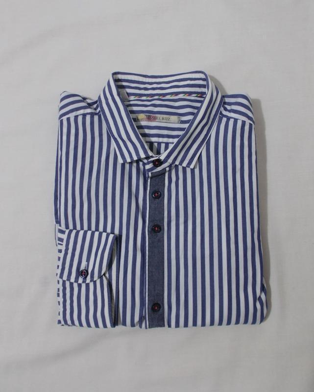 Рубашка бело-синяя полоска 'manuel ritz' 50-52р