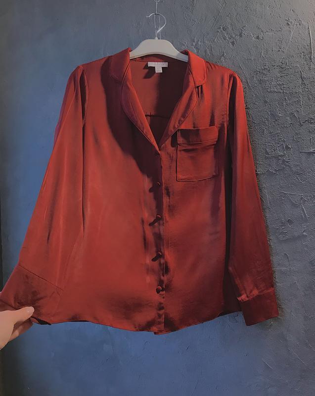 Сатиновая блуза бомбового цвета topshop рубашка в пижамном стиле