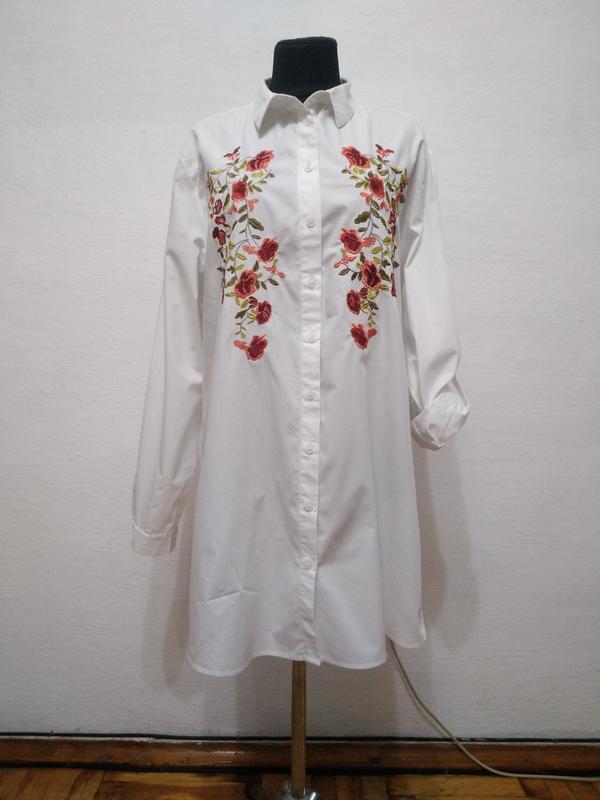 Стильная белоснежная блуза с вышивкой большого размера