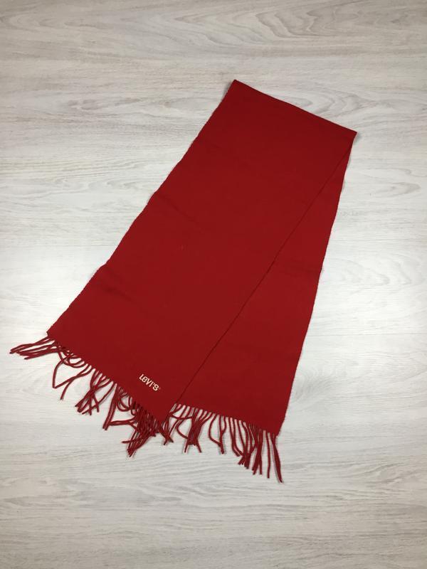 Шерстяной красный шарф levi's wrangler!