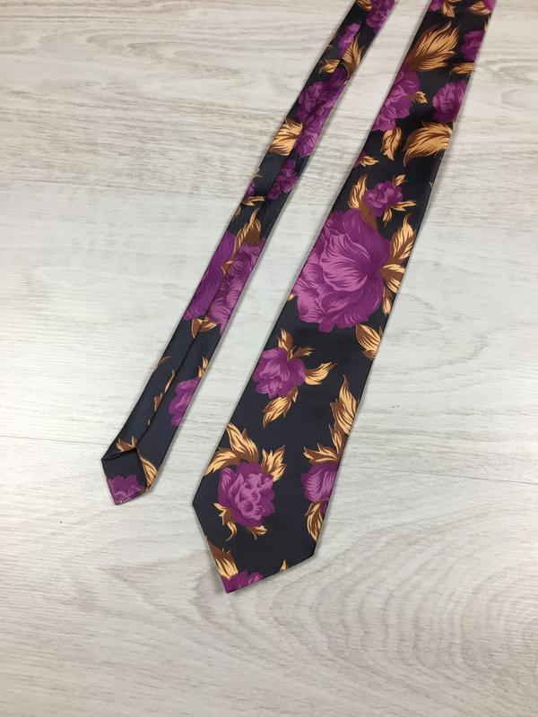 Фирменный шелковый яркий галстук с цветами rome цветы silk!