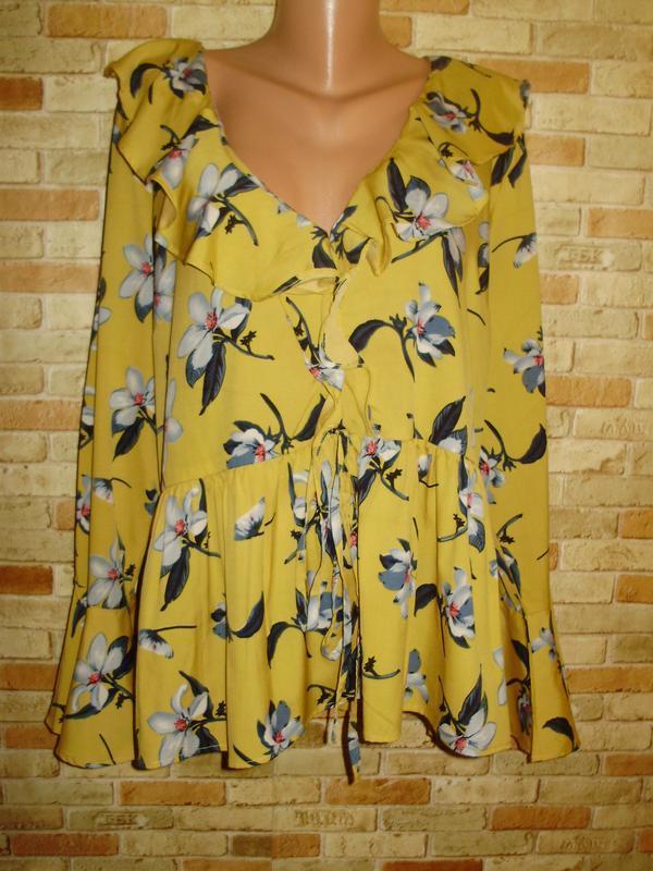 Горчичная блуза цветочный принт на груди и рукав воланы 20/54-...