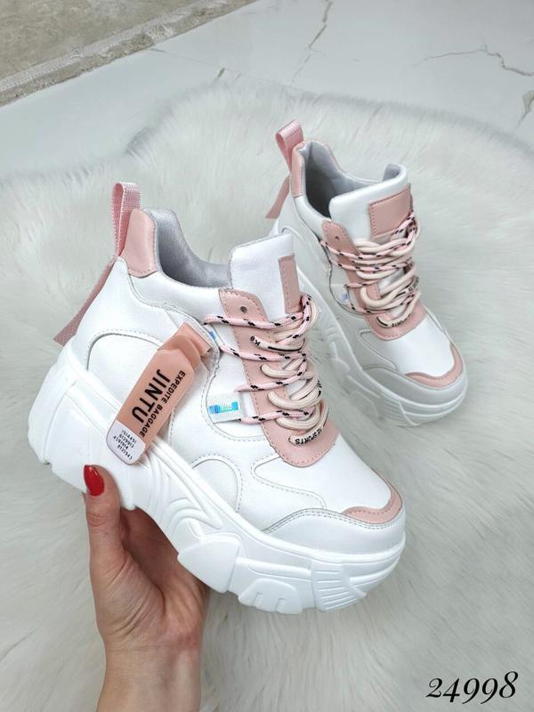 Белые массивные кроссовки с цветными вставками,кроссовки на пл...