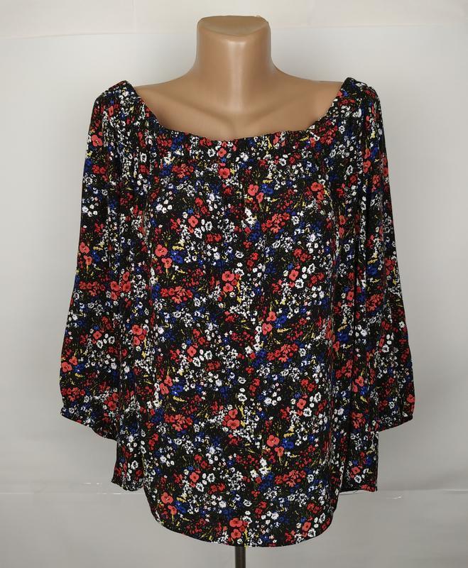 Блуза натуральная в цветы большого размера papaya uk 18/46/xxl