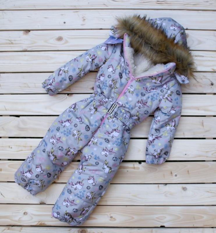 Детские зимние цельные комбинезоны на овчине единорог