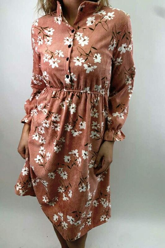 Вельветовое платье рубашка с акварельным рисунком, с-м