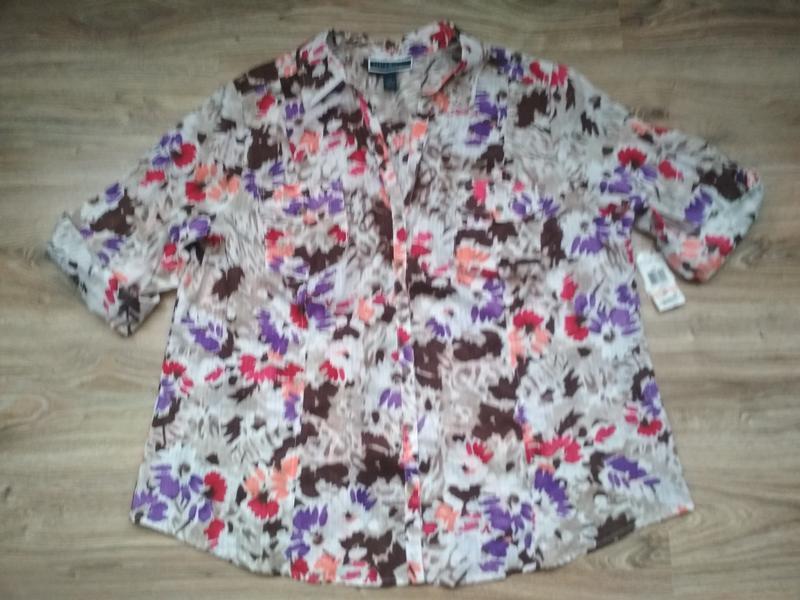 Хлопковая блуза рубашка karen scott, батал