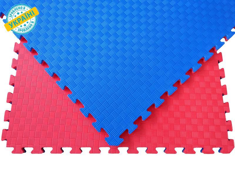 Мат татами 100*100*3 см Eva-Line Extra Quality синий/красный П...