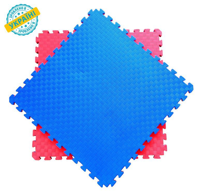 Мат татами 100*100*2 см Eva-Line Extra Quality синий/красный П...