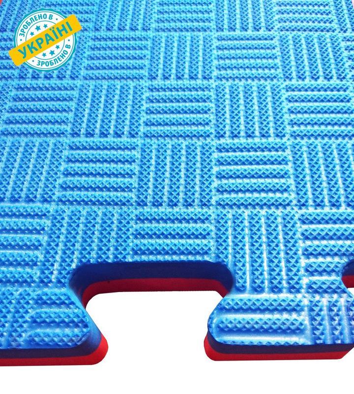 Мат татами 100*100*4 см Eva-Line Extra Quality синий/красный П...