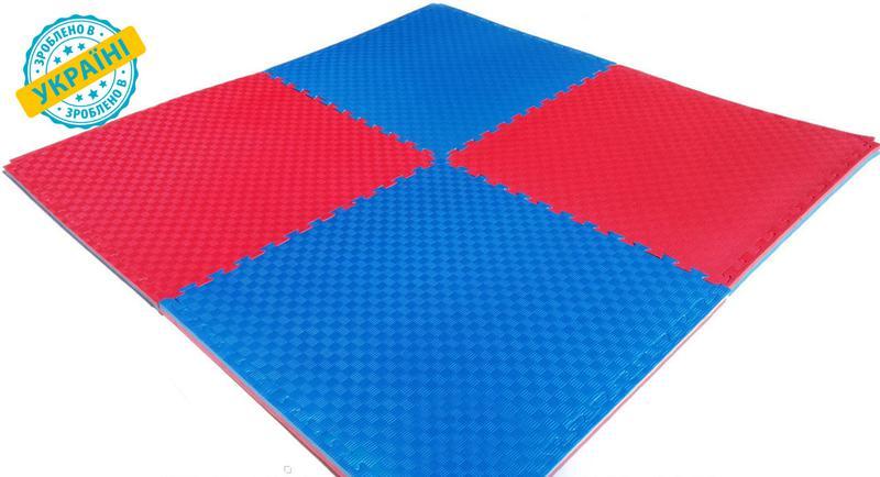 Мат татами 100*100*2.6 см Eva-Line Extra Quality синий/красный...