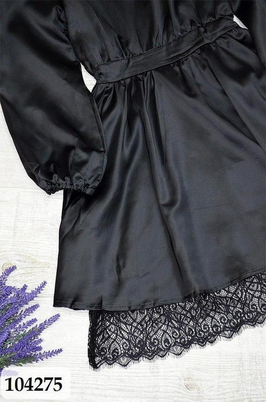 Черное платье из легкого атласа с кружевным низом - Фото 2