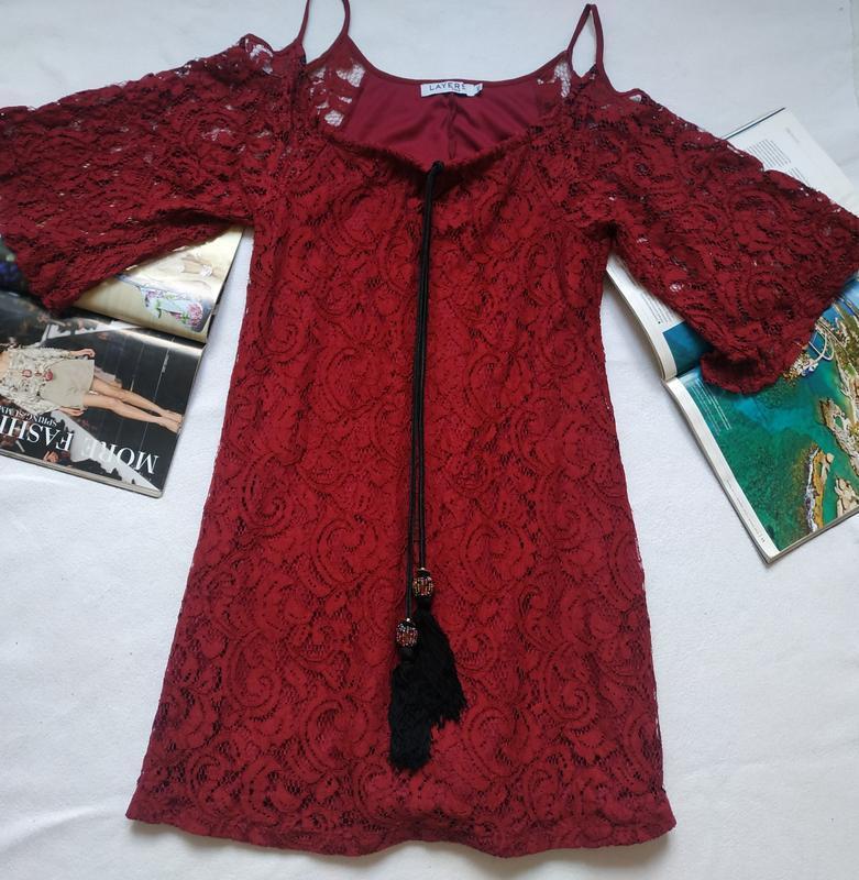 """Красивейшее платье марсалового цвета со спущенными рукавами """"l..."""