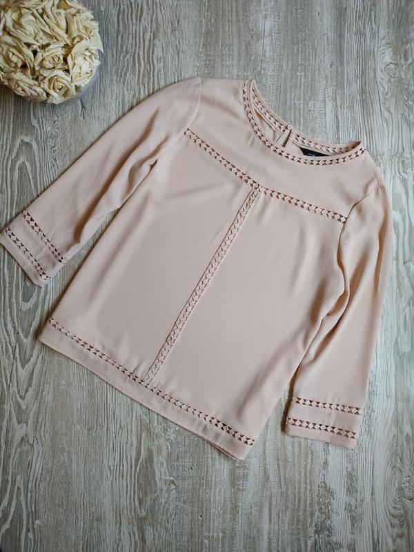 Пудровая блузка с укороченными рукавами new look размер 12
