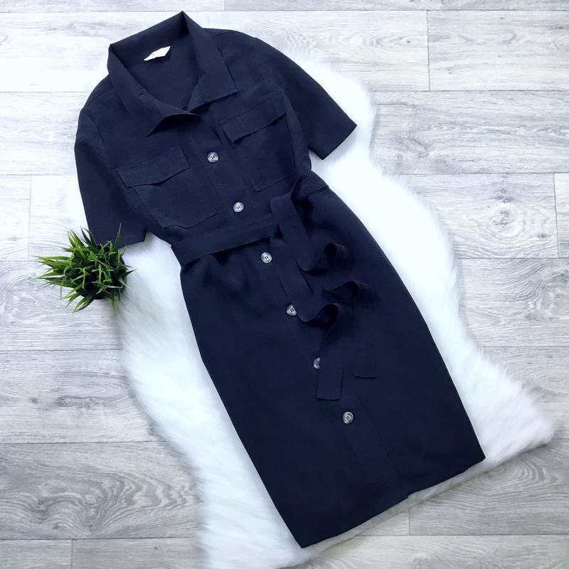 Графитное платье-рубашка с поясом