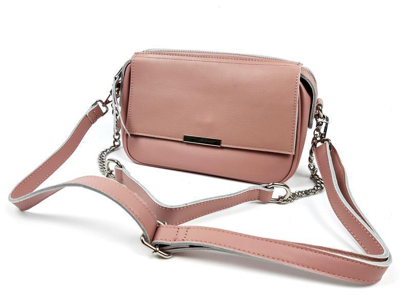 Женская кожаная розовая сумка - Фото 2