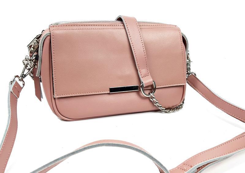 Женская кожаная розовая сумка - Фото 3