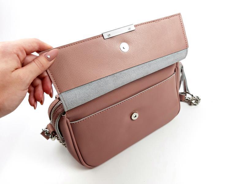 Женская кожаная розовая сумка - Фото 4