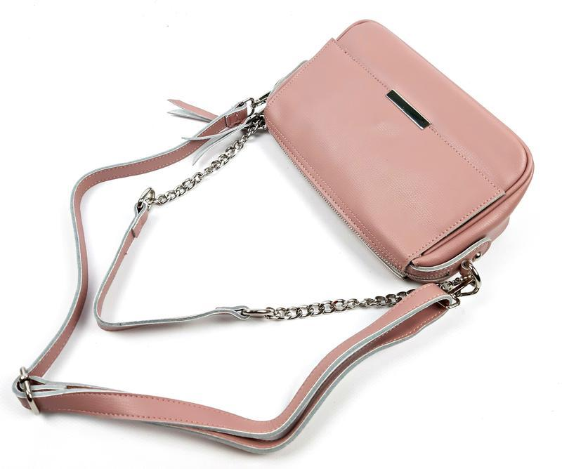 Женская кожаная розовая сумка - Фото 5