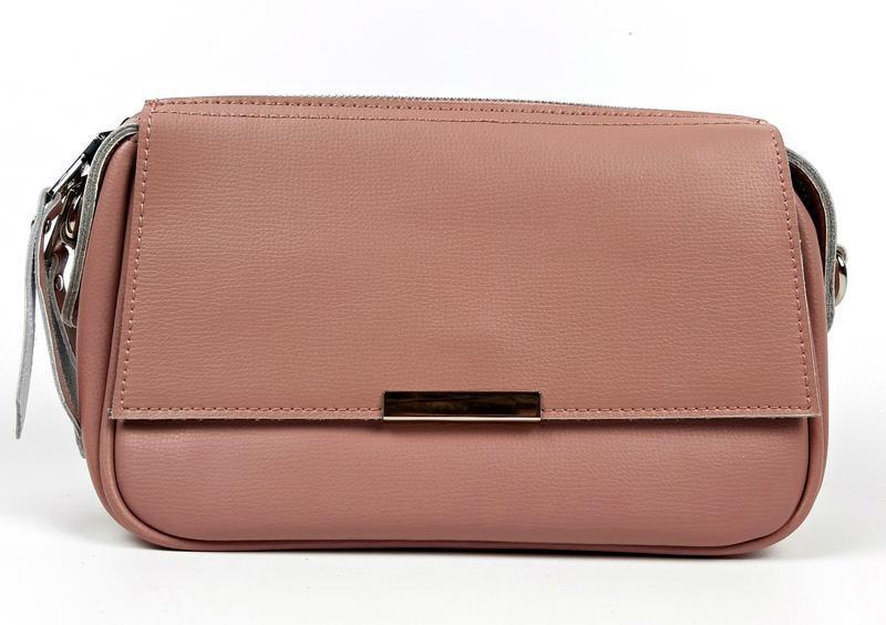 Женская кожаная розовая сумка - Фото 7