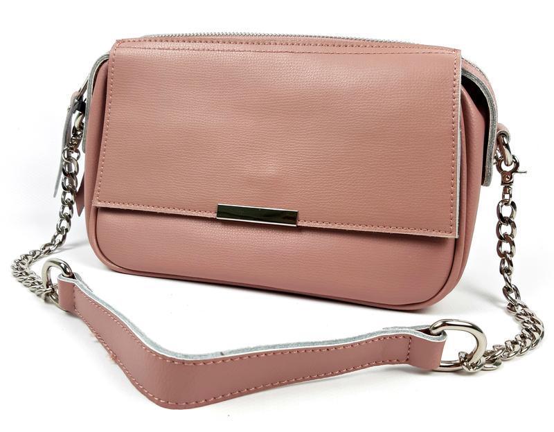 Женская кожаная розовая сумка - Фото 9