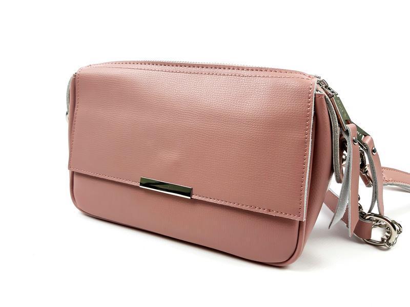 Женская кожаная розовая сумка - Фото 10