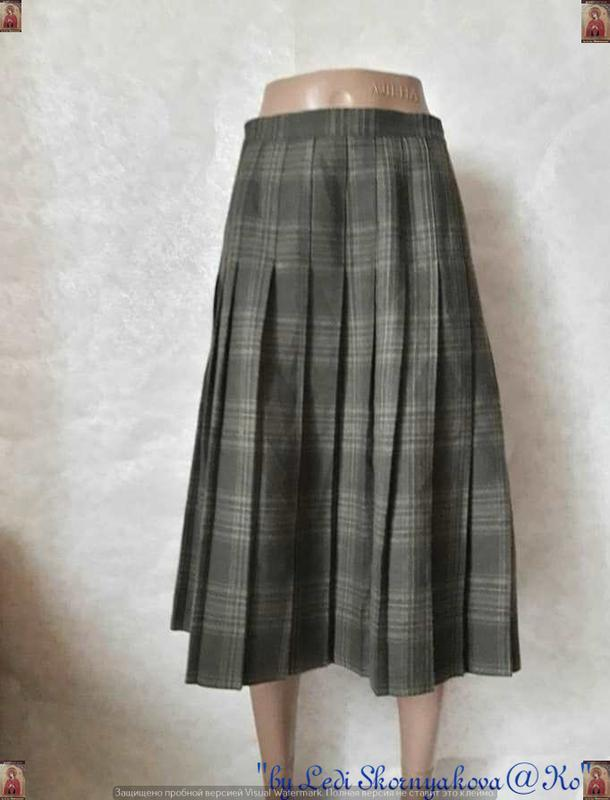 Фирменная ewm шерстянная на 100% юбка миди плиссе цвета хаки, ...