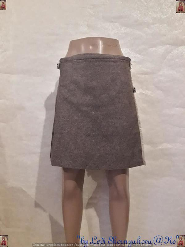 Новая шерстянная на 45% мини юбка плиссе на запах в нежном цве...