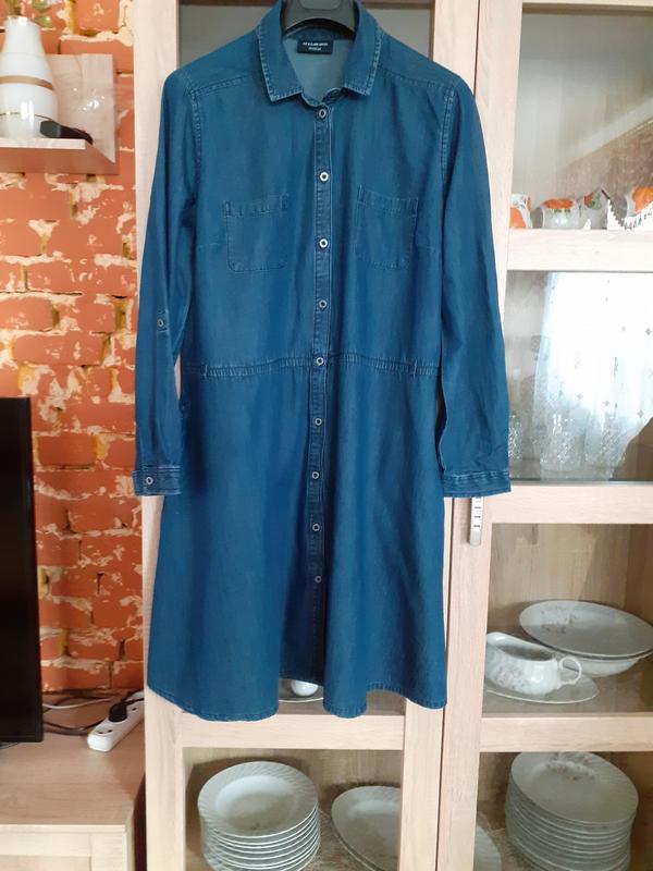 Суперовое котоновое джинсовое с карманами платье рубашка больш...