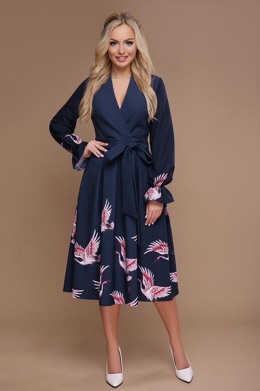 Платье миди с пышной расклешенной юбкой принт аисты
