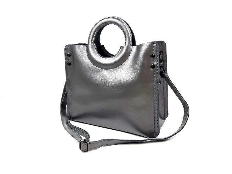 Женская кожаная серая сумка