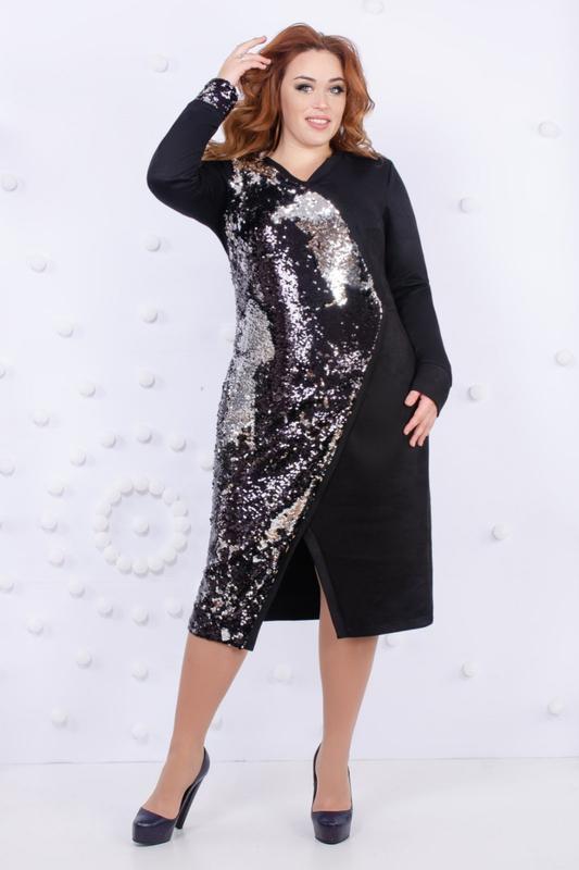Шикарное платье к новому году 2020г. больших размеров, с паетк...