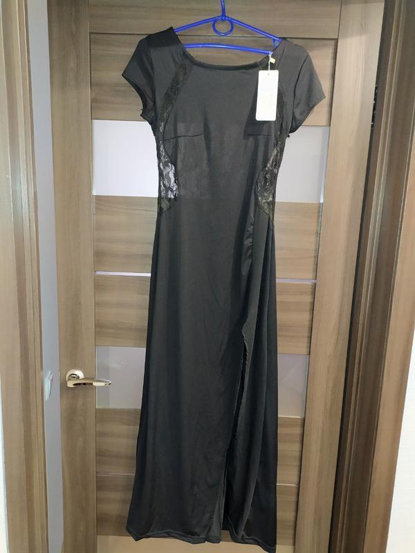 Вечернее длинное чёрное платье baluoke