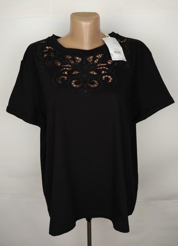 Блуза новая трикотажная шикарная с кружевной кокеткой warehous...
