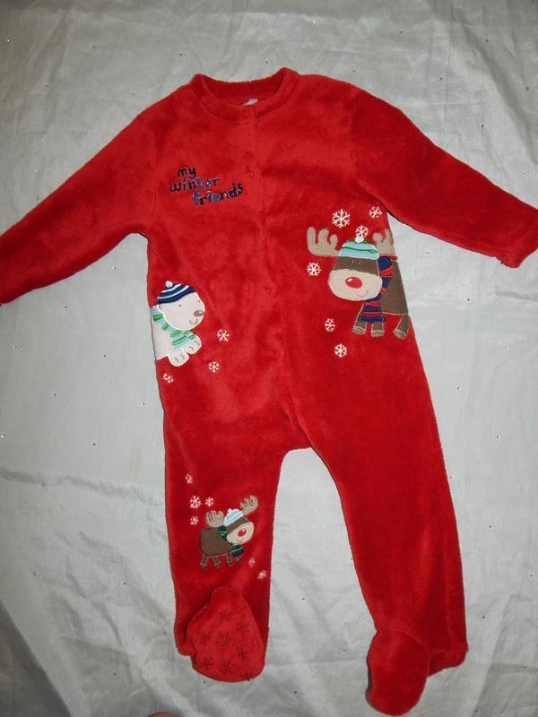 Слип пижама плюшевая человечек на мальчика новогодний 1,5-2 го...