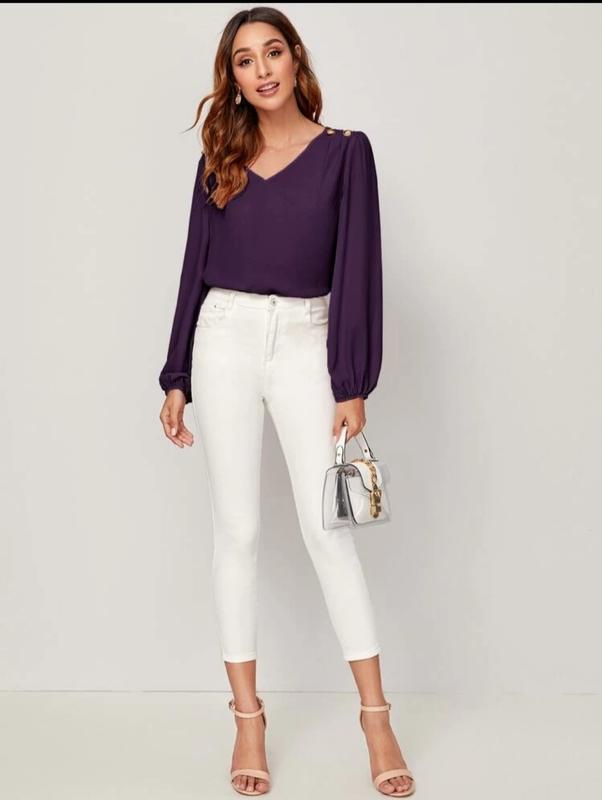 Блуза с рукавами на резинке - Фото 3